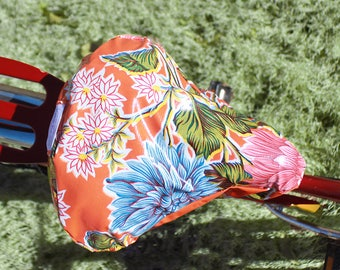 Waterproof Bike  Seat Orange Dahlia Bicycle Seat Cover- Saddle Cover- Waterproof oilcloth-