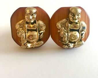 Vintage Pair of Swank Buddha and Bamboo Cufflinks — 1950s