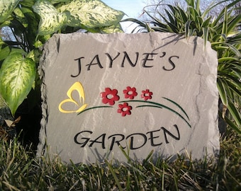 College engraved stone engraved garden stone with flowers butterfly workwithnaturefo