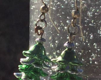 Earrings Christmas Green Silver Dangle
