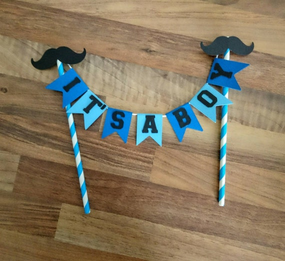 Its a boy Cake Bunting Baby Shower Cake Bunting Moustache Blue