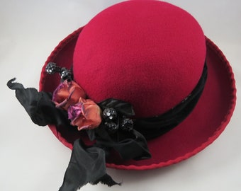 Red Hat with Roses and Berries, Wool Felt, Black Velvet Band Flowers, Chapeaux & Toes Sun Valley