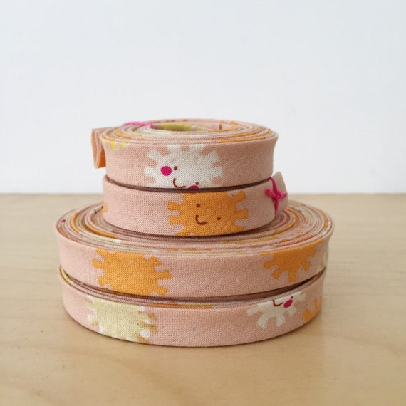 "Bias Tape- Cotton + Steel Let the Sunshine In cotton 1/2"" double-fold binding- peach pink orange- 3 yard roll"