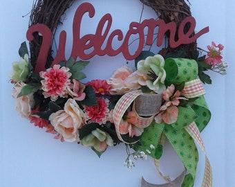Spring Door Wreath, Summer Door Wreath, Grapevine Wreath, Front Door Wreath,