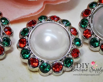 CHRISTMAS Pearl buttons Red & Green - Holiday Crystal Rhinestone Buttons Embellishments - Flower centers hair bow centers 5 pcs 23mm 763040