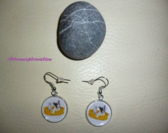 """Earrings cabochon """"as dog and cat"""" No. 1"""