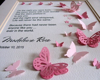 On the Night You Were Born Personalized 3D Butterfly Art. Medium & Light Pink or YOUR Choice of Colours. 8x10. Made to Order