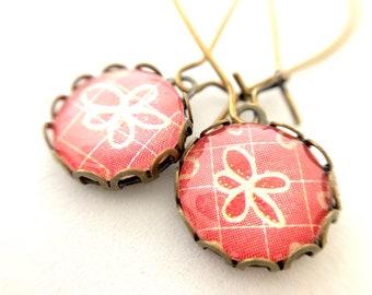 Flower Antique Brass Earrings