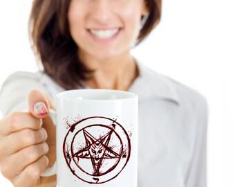 Satanic Blood Pentagram Coffee Mug | Hail Satan
