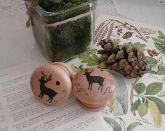 Wooden drawer knobs,deer knobs,deer drawer knobs,stag drawer knobs,pyrography deer,stag home decor,stag,deer,drawer pull,wooden drawer pull