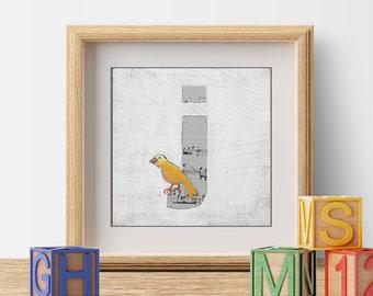 Name Art, Nursery Print, Children's Decor, Cute Bird Prints, Letter J, ABC Letters, Bird Illustration, Monogram Letters
