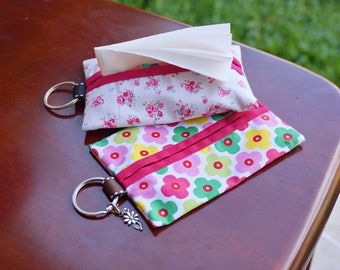 Floral tissue covers for purse or travel, gift under 5 dollars, Travel Tissue Case, tissue holder, Pocket tissue case, cute gift for friend