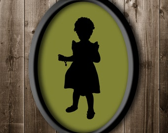 Custom Father's Day Gift, Silhouette Portrait of Daughter or Son, Silhouette Print, Kids Silhouette, Girl Silhouette from your own photo