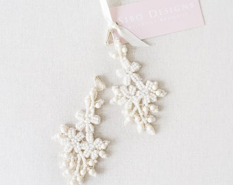 Lace Statement Bridal Earrings, Ivory Wedding Jewelry, Bridal Earrings, Beaded Earrings, Bridesmaids Gift, Wedding Jewelry - Style 726