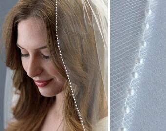 Pearl Wedding Veil, Pearl Edge Bridal Veil, Pearl Veil, Fingertip Length Veil, Elbow Length Veil, Ivory Veil, White Veil,Bride Veil ~VB-5059