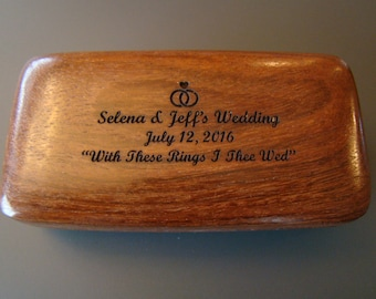 Custom Personalized Engraved Wooden Wedding Ring Box