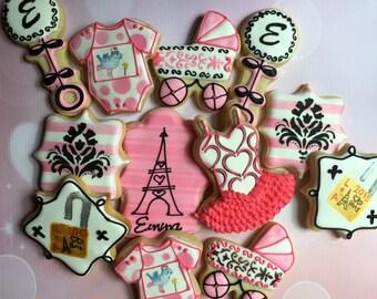 Parisian Baby Shower cookies