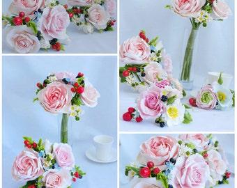 wedding flower set, bride bouquet, cold porcelain, strawberry bride bouquet, rustic bouquet, rustic style bride, strawberry cake topper