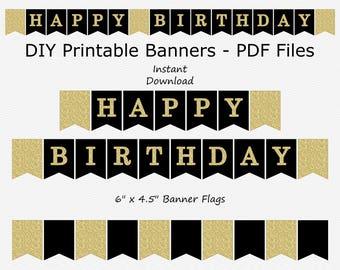 Happy Birthday Banner - Black & Gold Glitter - PRINTABLE - INSTANT DOWNLOAD