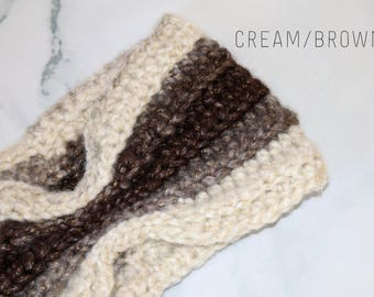 Crochet Ear Warmer, Crochet Headband, Cinched Headband, Winter Headband, Winter Accessory, Womans Headband, Adult Ear Warmer