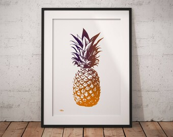 Pineapple print, pineapple gift, pineapple decor, pineapple art, tropical print, pineapple wall art, pineapple poster, popular, pineapple