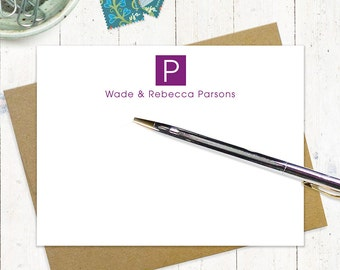 personalized stationery set - SQUARE MONOGRAM - set of 12 flat note cards - personalized stationary - choose color
