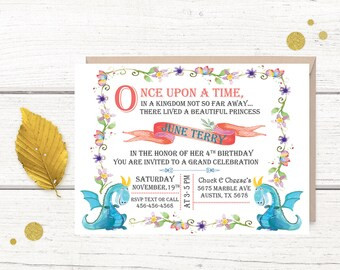 Fairy Tale Birthday Invitation, Fairy Tale Invitations, Princess Birthday Invitations, Princess Invitation, Once upon a time, Storybook,