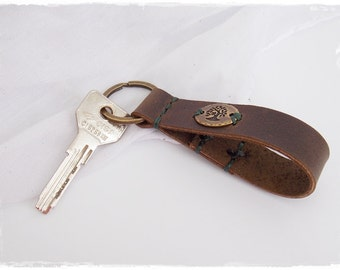 Celtic Tree Keychain, Leather Keychain, Tree Of Life Keyring, Pagan Tree Of Life Keyring, Woodland Pagan Key Fob, Men's Leather Keychain