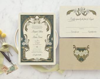 Art Nouveau Wedding invitations, floral wedding invitation, Greenery Wedding, Boho Wedding Invitations, La Marguerite Design