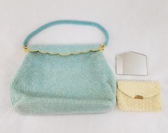 Vintage Beaded Evening Purse Pale Blue Clutch Bag