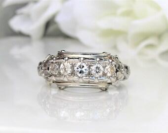 Art Deco Engagement Ring 0.50ctw Old Cut Diamond Wedding Ring 14K White Gold Orange Blossom Motif Littman Five Diamond Anniversary Ring