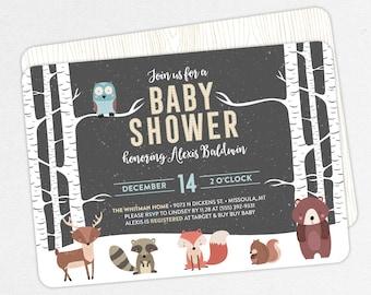 Woodlands Baby Shower Invitation, Neutral Baby Shower, Boy Baby Shower, Printable Invitation, PDF, Animal, Snow, Owl, Fox, Winter Forest