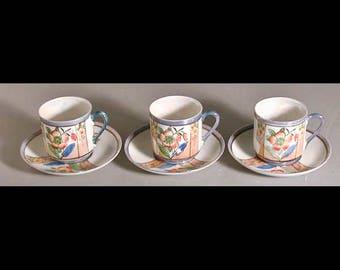 Tashiro Shoten Lusterware 3 Demitasse Hand Painted Porcelain Cups Saucers Japan
