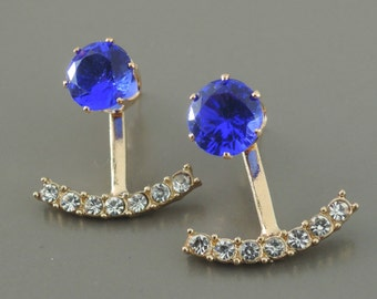 Ear Jackets - Sapphire Earrings - Gold Earrings - Crystal Ear Jackets - Stud Earrings - Trending Earrings