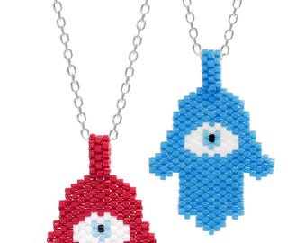 Miyuki Hamsa Evil Eye Necklace - Blue or Red Bead Necklace Unique for Women