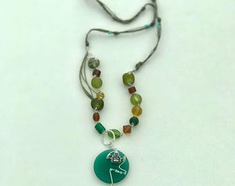 Green Buddha Necklace with silver tear