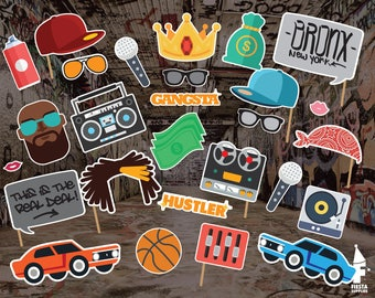 Hip Hop Photo Booth Props, 90s Party Photo Booth Props, hip-hop, rap music, rapper props, printable pary props, Digital download,party props