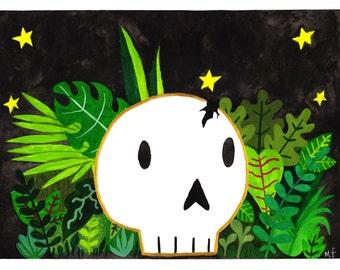 Skull In Plants print
