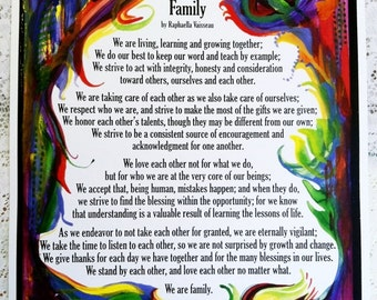 FAMILY Original Inspiration Prayer Creed Poem Home Motivational Wall Print Mother's Father's Day Gifts Heartful Art by Raphaella Vaisseau