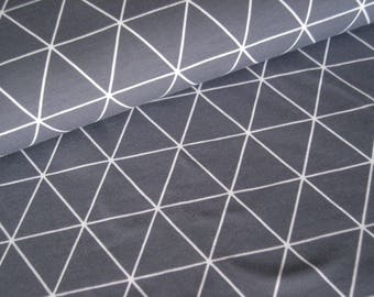 Cotton Jersey grey with white triangles