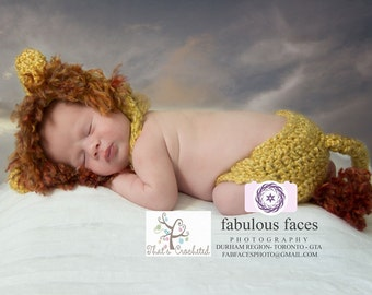 Newborn Lion hat and diaper cover- Newborn photography prop, newborn boy, newborn girl, crochet newborn hat, Newborn Lion outfit