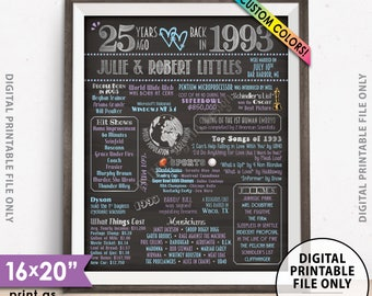 """25th Anniversary Gift, Flashback in 1993 Married in 1993 Anniversary, Custom Chalkboard Style PRINTABLE 8x10/16x20"""" 1993 Anniversary Poster"""