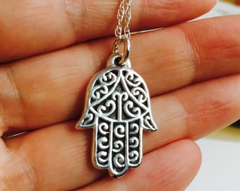 All Sterling Silver Large Hamsa Hand Necklace,  Hamsa Sterling  Necklace