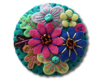 FB094 -  Japanese Art Inspired Handmade Mini Felt Brooch - Petrol Blue - Made to order