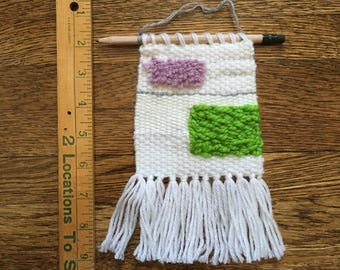 Small woven wall hanging -- white, green, lilac