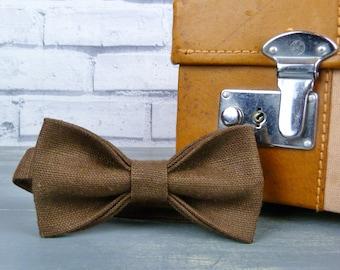 Mens Bow Tie - Brown Irish Linen, pretied bow tie, wedding accessory