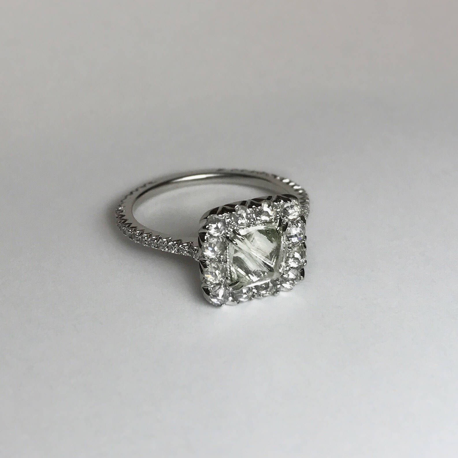engagement size products freeform raw set to diamond cube rough in cubes palladium ring palaldium channel dsc rings