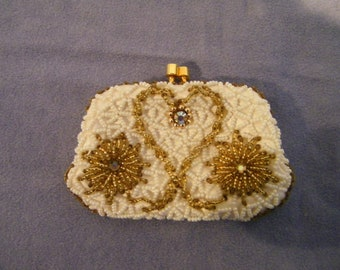 Vintage DeLill White Beaded Coin Purse with Rhinestones