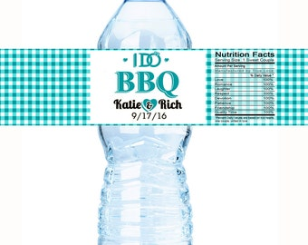 Water Bottle Labels, I Do BBQ, Engagement Party Wedding, Bachelorette, Bridal Shower, Custom Personalized Labels - I DO BBQ  - Turquiose