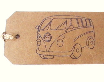 Campervan Gift Tags, Set of 5 Kraft Tags, Camper Gift Labels, Gift Tags For Him, Groomsmen Gift Tag Set, Rustic Tags, Wedding Favor Tags